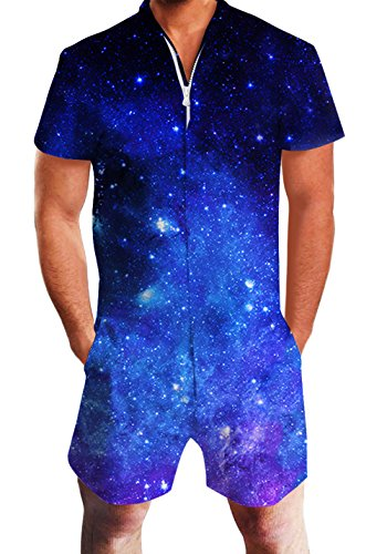 Men's Rompers Male Zipper Jumpsuit Shorts Galaxy Universe Space Printed One Piece Slim Fit Outfits Bro Short Sleeve Overalls