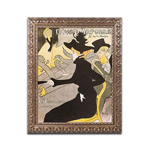 Divan Japonais Artwork by Henri Toulouse Lautrec, 16 by 20-Inch, Gold Ornate Frame ()