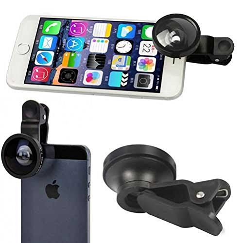 2-in-1 Selfie Camera Lens Kit Fisheye Wide Angle Macro Black for Huawei Mate 10 - LG V30 V20, Stylo 3, G7 ThinQ G6 G5 - Motorola Moto Z2 Force Z Force Droid, Turbo 2