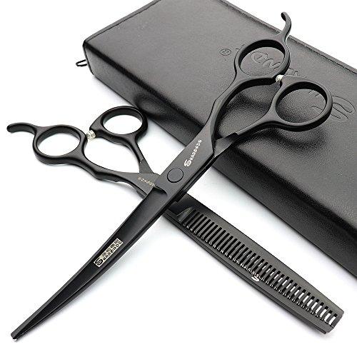 Japon Salon Salon modelage Outil Professionnel Professional 7 pouces Coupe de cheveux Ciseaux + ciseaux à effiler Noir Alice Tête Ciseaux