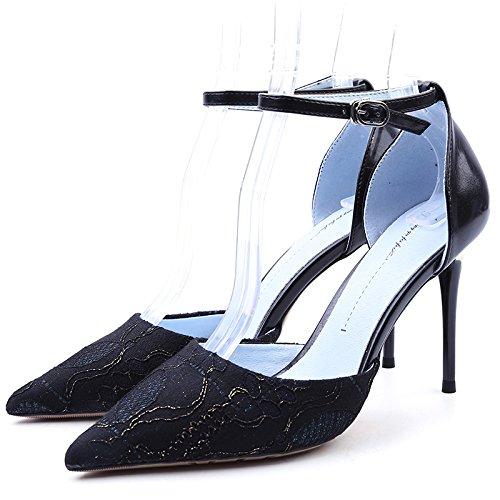 y Moda Nueva en Solo Verano Primavera YMFIE Lace black Moda Damas Zapatos Tacones de Zapatos UYqdwI