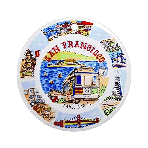 (CafePress Vintage San Francisco Souvenir GRAP Round Holiday Christmas Ornament)
