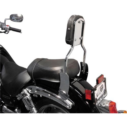 Honda Vtx1300c Backrest (MC Enterprises Sissy Bar With Studded Pad Chrome for Honda VTX1300C/1800C/1800F)