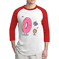 Men's You Complete Me Donuts Casual Raglan Shirt 3/4 Sleeve Athletic Jersey S-2XL