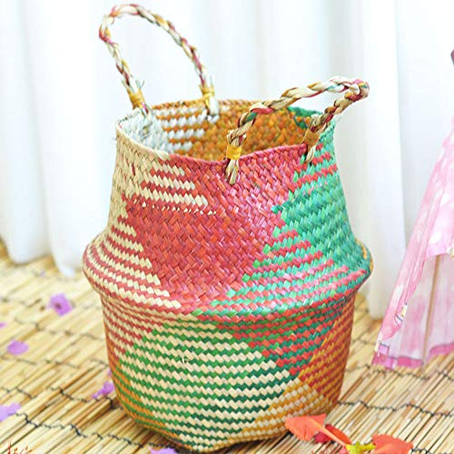 Hot Sale!DEESEE(TM)Seagrass Wicker Basket Wicker Basket Flower Pot Folding Basket Dirty Basket (A) ()