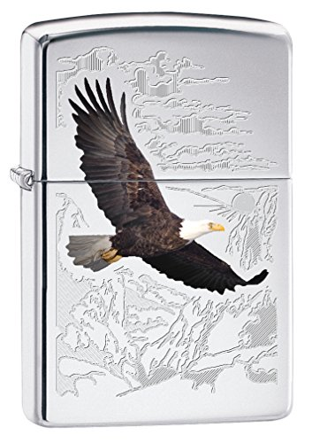 Zippo Eagle Lighters (High Polish Chrome Bald Eagle) (Eagle High Polish)