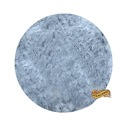 - Classic Round Sheepskin Faux Fur Area Rug / Round Accent Throw Carpet (Silver Gray, 60