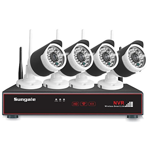 Sungale 4-Channel HD NVR Video Security Surveillance System and (4) 1.0MP Indoor/Outdoor Weatherproof Wireless IP Cameras with IR Night Vision LEDs (Support Android/ios App Viewing)