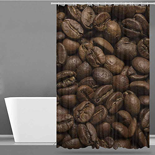VIVIDX Polyester Shower Curtain,Coffee,Flavored Roasted Arabica Beans Ready for Brew Fresh Drink of Mocha for Robust Breakfast,Polyester Fabric Waterproof,W60x72L Brown