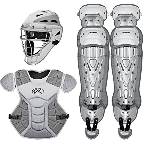 Rawlings Sporting Goods VCSI-W/SIL Catcher Set Velo Series Protective Gear, White/Silver, Age 12-15 - Rawlings Catchers Gear Set