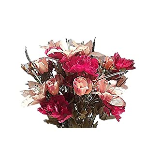 "25"" Lily Carnation Rose Mixed Flowers Bush Silk Wedding Flowers Home Decor 40 Stems. (Burgundy/Rust/Botter) 105"