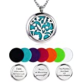 Aromatherapy Essential Oil Diffuser Necklace, Hypoallegenic Stainless Steel Locket with 23'' Chain 7 Refill Pads
