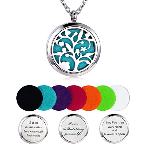 - Aromatherapy Essential Oil Diffuser Necklace, Hypoallegenic Stainless Steel Locket with 23