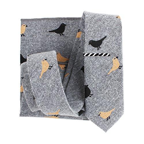 Levao Skinny Tie Men's Bird Pattern Ties Linen Cotton Neckties,Tie Clip, Pocket Square Gift Set 017 Gray