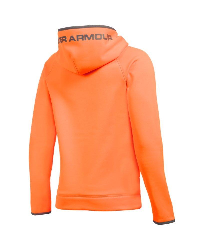 Under Armour Boys' Storm Armour Fleece Highlight Big Logo Hoodie, Blaze Orange (826)/Graphite, Youth Small by Under Armour (Image #2)