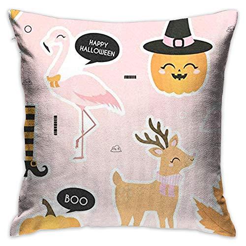 Throw Pillow Cover Flamingo Celeb Halloween Decorative Pillow Case Decor Square 18x18 Inch Cushion Pillowcase -