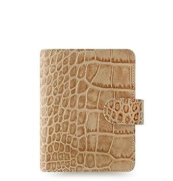 "Filofax Classic Croc Print Leather Organizer Agenda Calendar with DiLoro Jot Pad Refills (Pocket 3 1/4""x4 3/4"" Paper Size, Fawn 2019, 026010)"