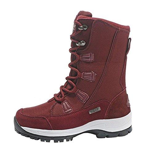 3STEAM Stivali da Neve Uomo Donna stivali invernali con rivestimento caldo Rossa