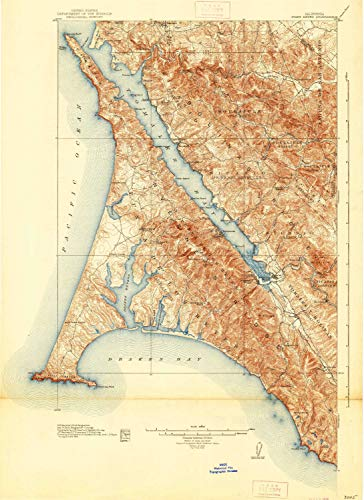 YellowMaps Point Reyes CA topo map, 1:62500 Scale, 15 X 15 Minute, Historical, 1918, Updated 1938, 24.8 x 18 in - Polypropylene