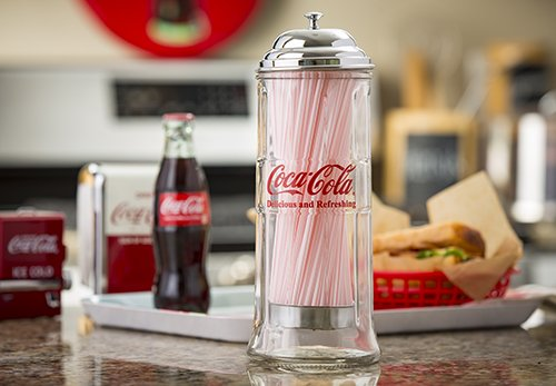 tablecraft 39 s cc322 coca cola glass straw dispenser with metal import it all. Black Bedroom Furniture Sets. Home Design Ideas