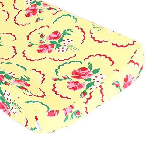 Retro Floral Yellow and Pink Changing Pad Cover - Fits Standard Contoured Changing Pads - 100% Soft Premium Cotton [並行輸入品]   B077M57LZF
