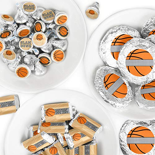 Nothin' But Net - Basketball - Mini Candy Bar Wrappers, Round Candy Stickers and Circle Stickers - Baby Shower or Birthday Party Candy Favor Sticker Kit - 304 -