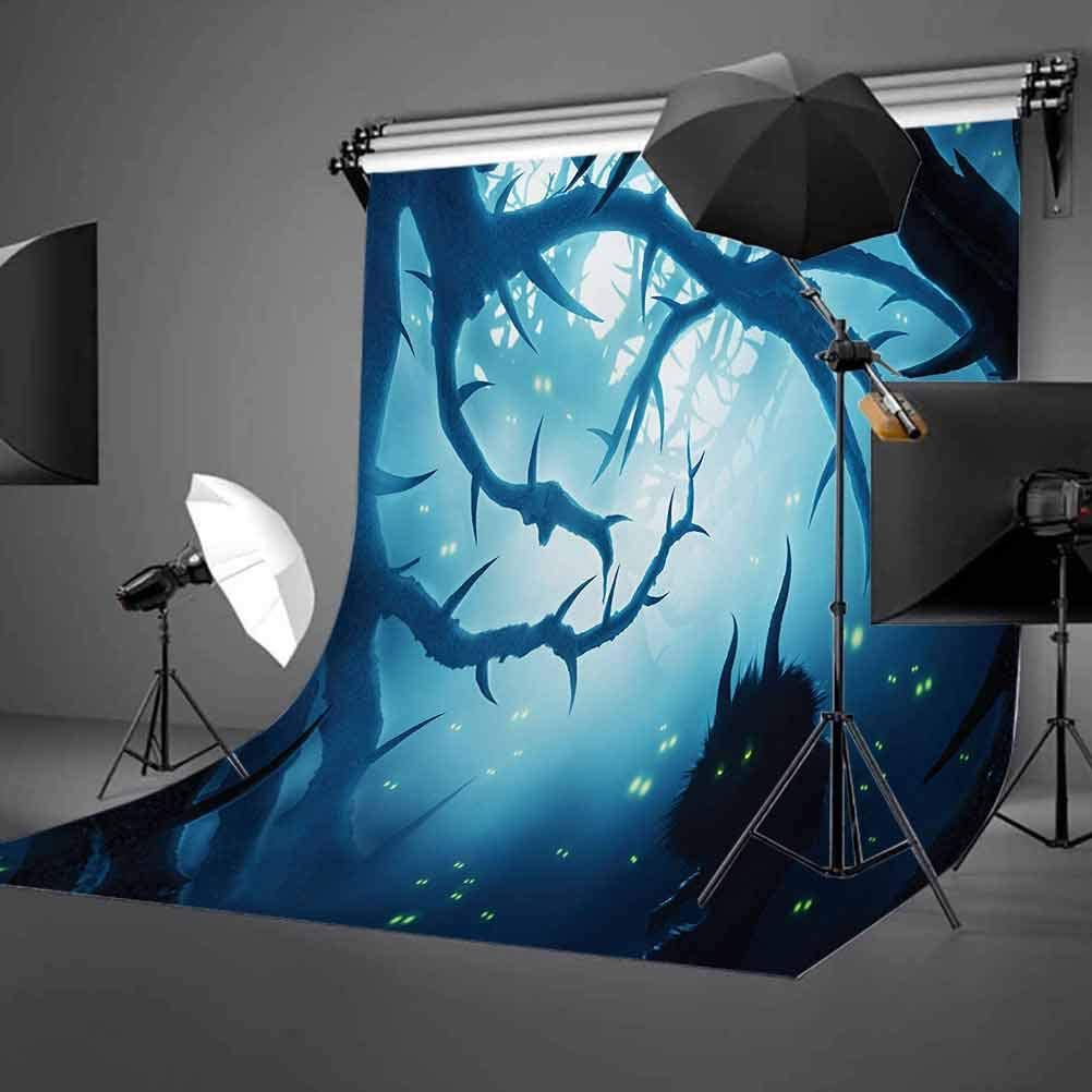 Mystic 8x10 FT Backdrop Photographers,Animal with Burning Eyes in The Dark Forest at Night Horror Halloween Illustration Background for Baby Shower Bridal Wedding Studio Photography Pictures Navy WHI