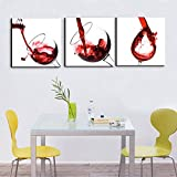 Red Wine in the Glass Canvas Splash Wine Cup 3 Panel Posters and Prints Modern Painting Picture Wall Art for Kitchen,Dining Room,Bar,Restaurant Home Decor Gallery-wrapped Art Set Framed(72''Wx24''H)