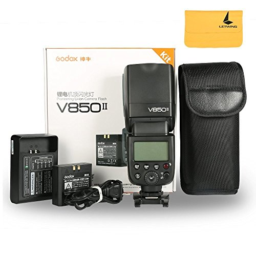 Godox Ving V850II GN60 2.4G 1/8000s HSS Camera Flash Speedlight with 2000mAh Li-ion Battery Features 1.5s Recycle time and 650 Full Power Pops Compatible Canon Nikon Pentax Olympas