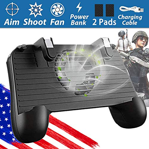 Pubg Mobile Game Controller, FourPlusOne Mobile Gamepad L1R1 Shoot and Aim Trigger Joystick for Android & iOS Smart Phone Grip Handle (Black)
