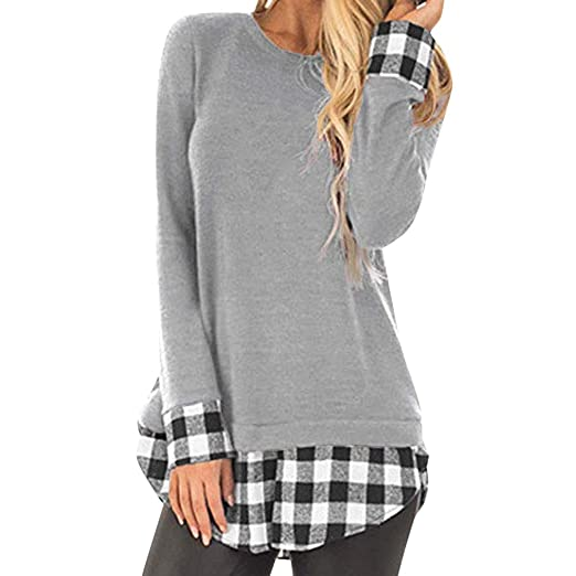 1065b3a4fb6 Clearance Forthery Women s Plaid Flannel Shirt Long Sleeve Pullover  Sweatshirt Tops(Grey