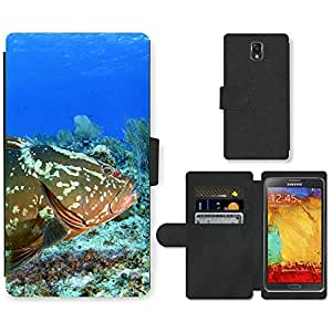 Hot Style Cell Phone Card Slot PU Leather Wallet Case // M99999273 Grouper Fish // Samsung Galaxy Note 3 III N9000 N9002 N9005