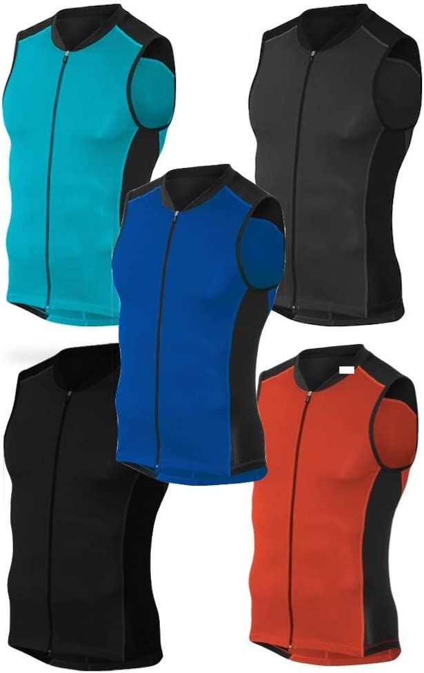 Full Zipper Tri Singlet Sleeveless 2 Rear Pockets for Storage Blue//Black, 2XL Kona Mens Triathlon Vest Jersey Top