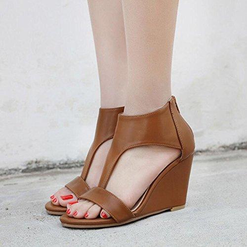Albaricoque Cuñas marrón de negro casuales Sandalias GAOLIXIA mujer de verano cuero Zapatos Brown artificial Plataforma de FSwq87P8