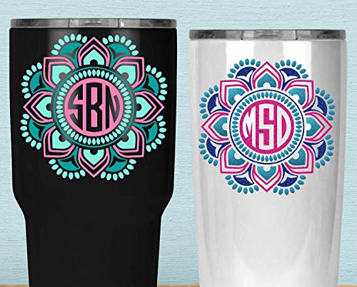 (Custom Mandala Monogram Yeti Decal, Three Color Boho Sticker for Yeti, Your Choice of Size and Colors)