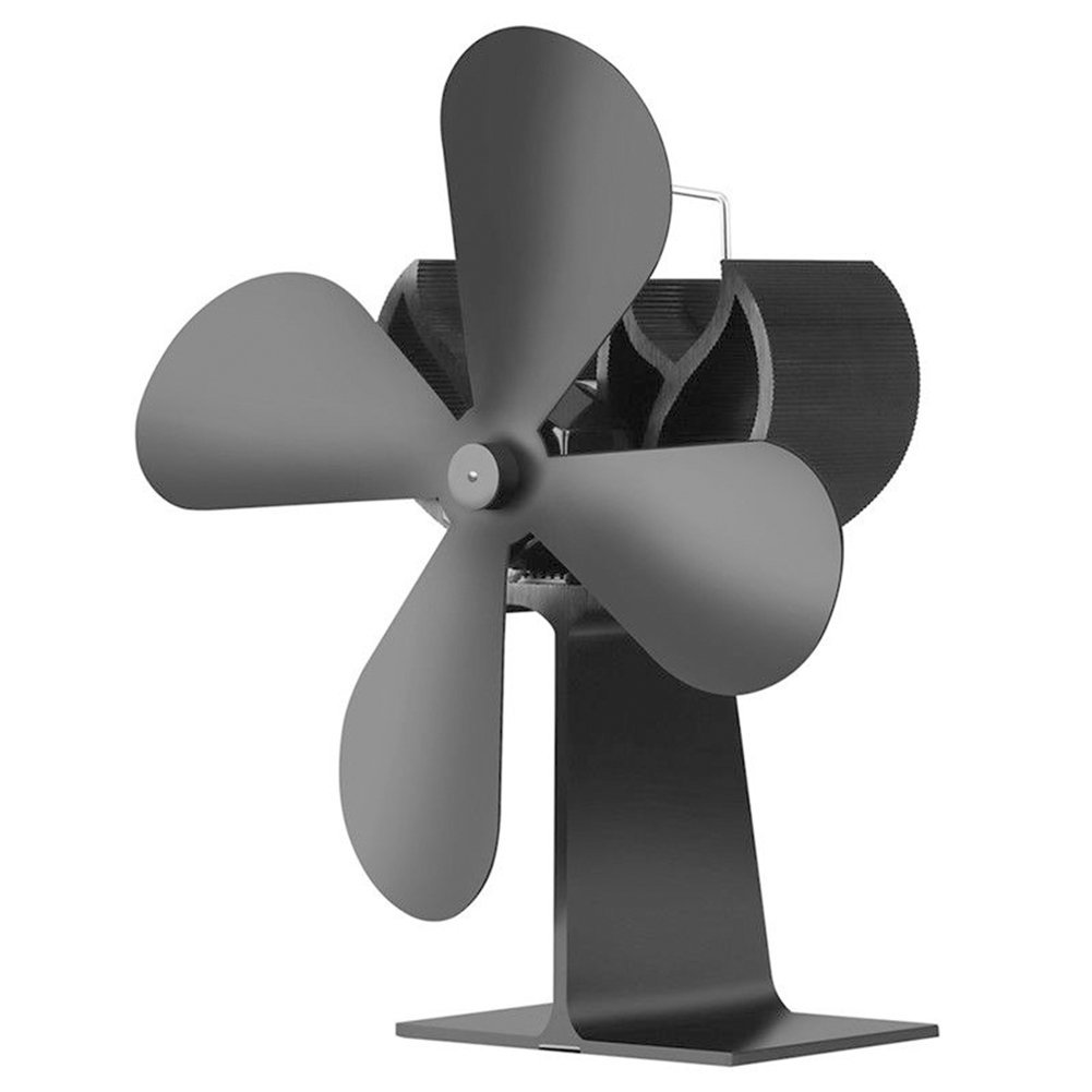 osierr6 4 Blades Stove Fan, Wood Heater Eco Fan, Silent, Heat Powered Wood/Log Burner Fan Aluminum Alloy Eco Friendly Heat Circulation for Fireplaces