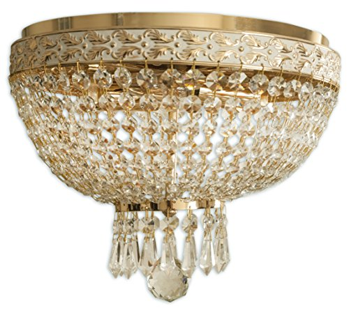 Royal Designs Clear K9 Quality Elegant Polished Brass Round Crystal Ceiling Flush Mount-2 Lights (FM-5001FG/WH) - Crystal Dome Flush