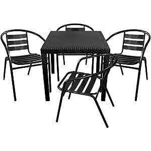 5piezas. Bistro Muebles de Jardín de Ratán. 79x 79+ 4x sillas de jardín y sillas para jardín negro