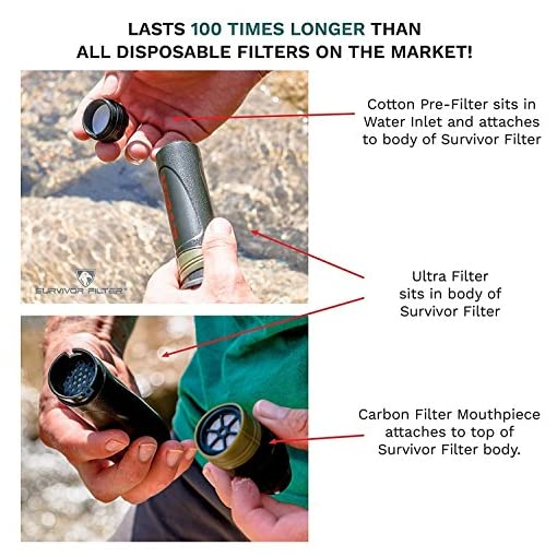 Survivor Filter - Virus Tested Reusable/Cleanable Water Filter for Camping and Hiking with 0.05 Micron 3 Stage Filtration – 100,000L Membrane, Replaceable Carbon and 6 Cotton Pre-Filters Included