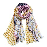Women's Cotton Long Scarf Lady's Polyester Shawls Soft Summer Seabeach Bikini Covers Thin Spring Wraps Autumn (Yellow)