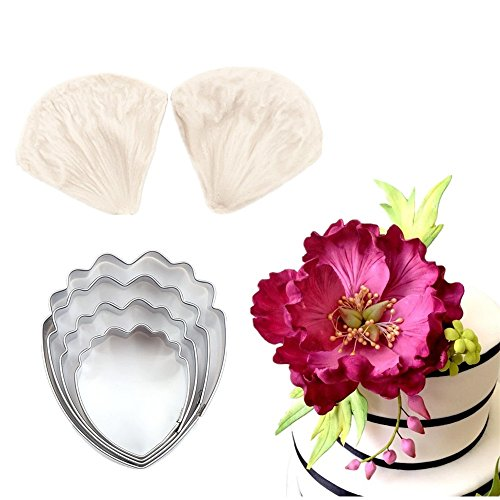(4pcs Gumpaste Flower Cutter Set and 2pcs Fondant Silicone Mold Gumpaste Peony Sugarcraft Fondant Flower Veining Mold Chocolate Making Tool)