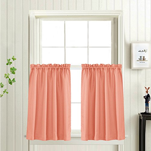 Waffle Woven Textured Short Curtains for Bathroom Water Repe