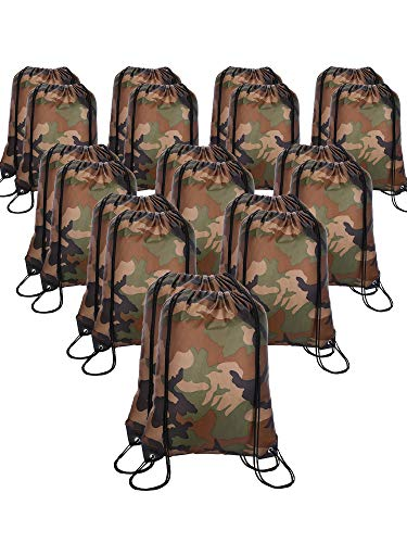20 Pieces Drawstring Backpack Sport Bags Cinch Tote Bags for Traveling and Storage (Camouflage, Size -