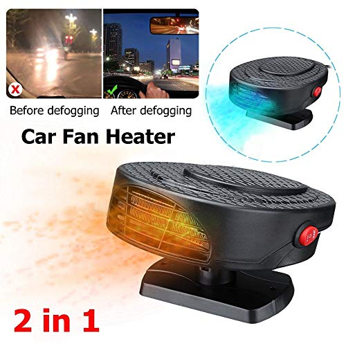 succeedtop Car Heater Fan12V Auto Car Heater Cooler Dryer Fan Portable Defroster Demister 150W Warm New Portable Car Auto Vehicle Electronic Heater or Fan 2 in 1 Heating Cooling Function (Black)