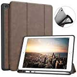 MoKo Case Fit iPad 9.7 2018 with Apple Pencil Holder - Slim Lightweight Smart Shell Stand Cover Case with Auto Wake/Sleep Fit Apple iPad 9.7 Inch 2018 Released Tablet (A1893 / A1954), Brown
