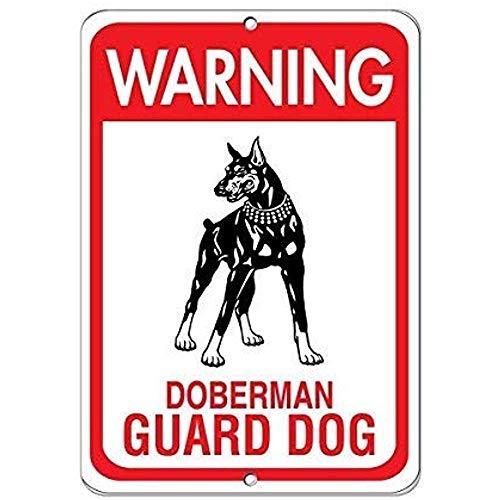 NDTS Metal Deco Sign 12x16 inches Warning Doberman Guard Dog Pet Animal Sign Aluminum Metal Tin ()