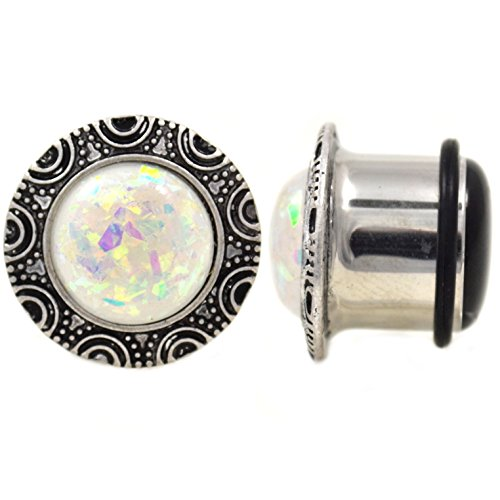 Pair of Oversized Opalite Glitter Top Ear Plugs Single Flared Gauges Made with Steel & Brass (9/16 Inch (14mm)) Iridescent Glitter Top
