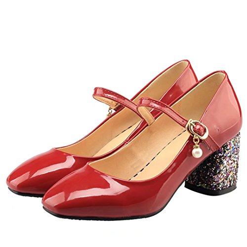 8fe67fa158f6ce ... AIYOUMEI Damen Lack Blockabsatz Mary Jane Pumps mit Glitzer und Perlen  Retro Bequem Schuhe Rot ...