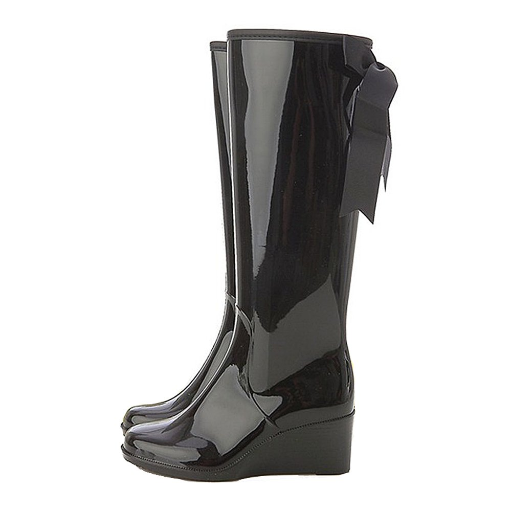 0f198a9e9a46 Amazon.com | getmorebeauty Women's Belt Mid Calf Rubber Waterproof Wedges  Black Rain Boots | Mid-Calf