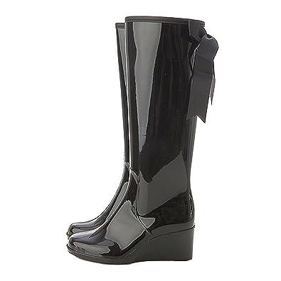 Women's Mid Calf Wedges Rain Booots Waterproof Shoes
